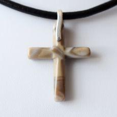 Krzyżyk - krzemień pasiasty i srebro - choker