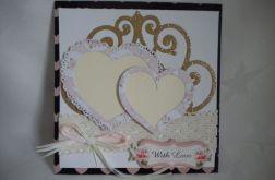 Kartka ślubna - dwa serca