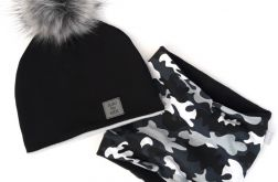 Komplet zimowy: czapka z kominem Czarny/moro