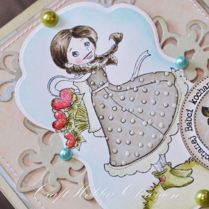 Kochanej Babci - z bukietem serduszek -
