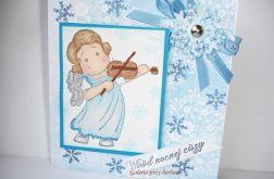 Kartka swiąteczna z aniołkiem