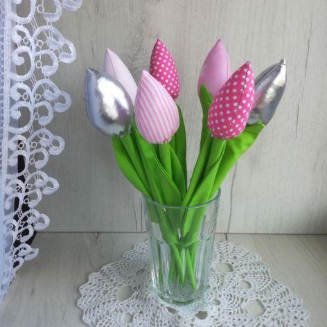 Tulipany z bawełny bukiet różowy Dzień Matki