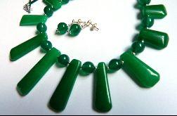 Jadeit zielony, kolia i kolczyki, zestaw