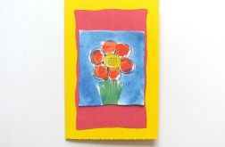 Kartka żółta  z kwiatkiem 6