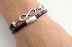 Infinity unisex bransoletka fioletowa skóra