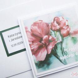 Kartka ŚLUBNA z grafiką - czerwone kwiaty