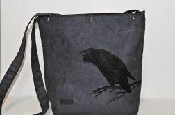 Duża torba Kruk w rockowym stylu szara