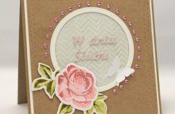 Kartka ślubna z różą KS18009
