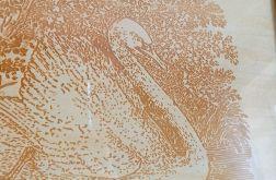 10B. Obraz Drzeworyt Łabędź (345x258)mm