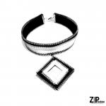 Designerski czarno-biały choker - Choker, naszyjnik w klimacie glam rock.
