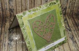 Kartka ślubna w kolorze zielonym z sercem