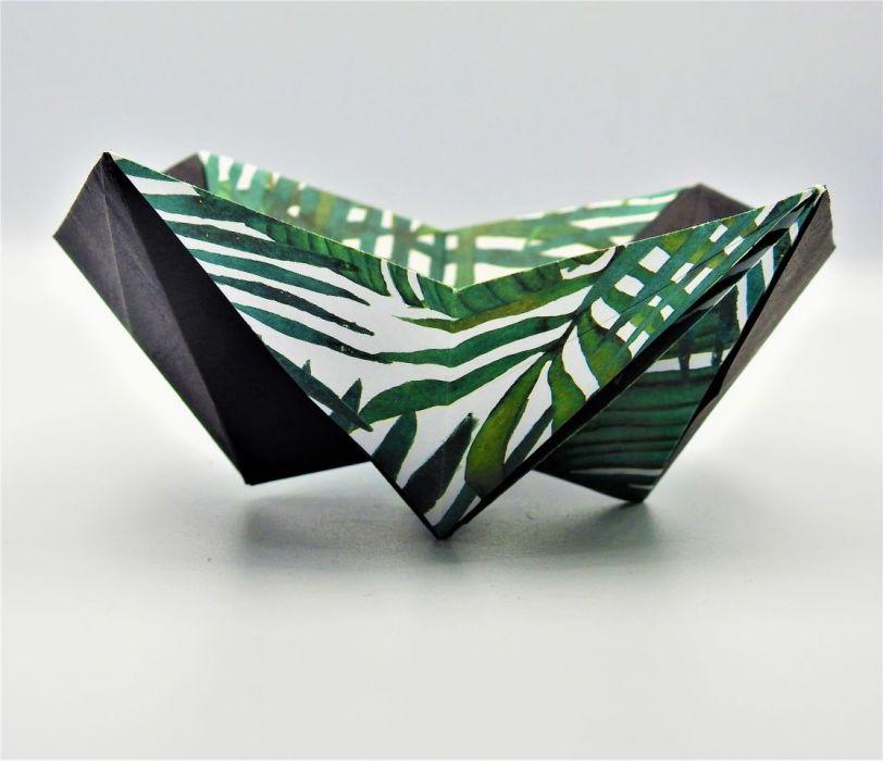 Geometryczna miseczka origami w liście palmy - 4