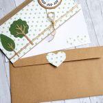kartka kopertówka - drzewka - green dots