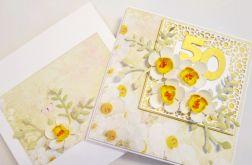 Kartka URODZINOWA z białymi kwiatami