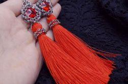 Kolczyki długie wiszące chwosty czerwone