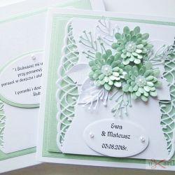 Kartka ŚLUBNA z miętowymi kwiatami /Z