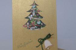 Kartka Boże Narodzenie Zielona Choinka