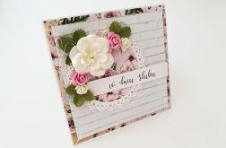 Z kwiatem- kartka ślubna