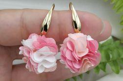 Kolczyki różowe kwiaty floral małe pastelowe