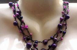 Purple - Naszyjnik sznurek i szkło