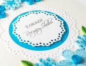 Elegancka kartka na rocznicę, Quilling, kolor niebieski