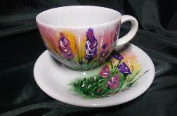 filiżanka ręcznie malowana kwiaty lawendy