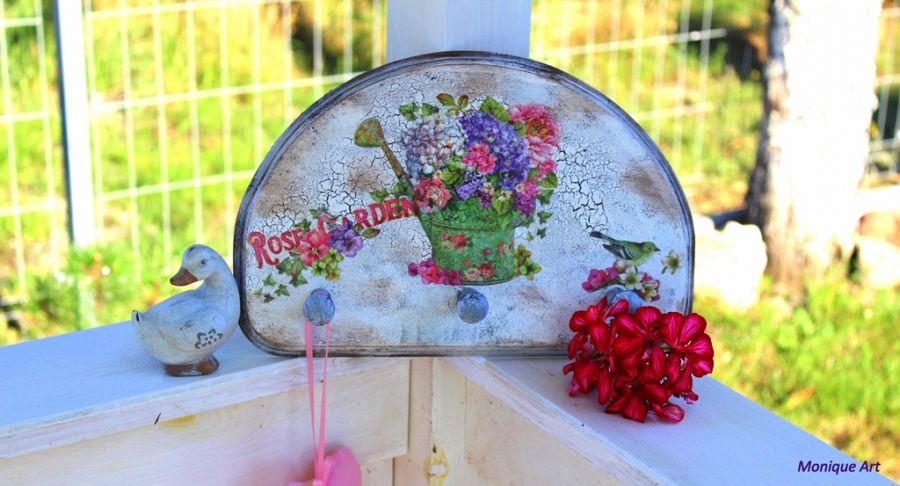 Wieszak, shabby chic, kwiaty, Prowansja