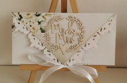Kartka ślubna kopertówka kopertowa floral IX MR&MRS