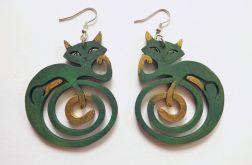 Kolczyki Kotki Zawinotki - zielone różne