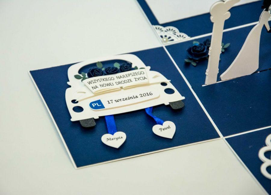 Kartka - pudełko z okazji ślubu - kartka z życzeniami
