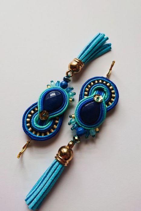 Niebiesko-turkusowe kolczyki z chwostami -