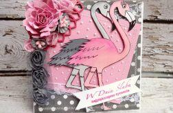 Kartka z flamingami