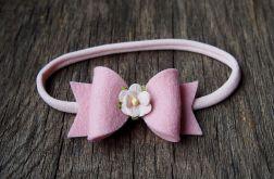 Opaska do włosów kokardka z kwiatkiem róż