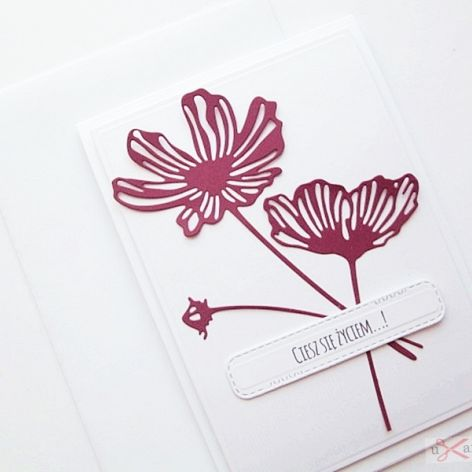 Kartka UNIWERSALNA - bordowe kwiaty