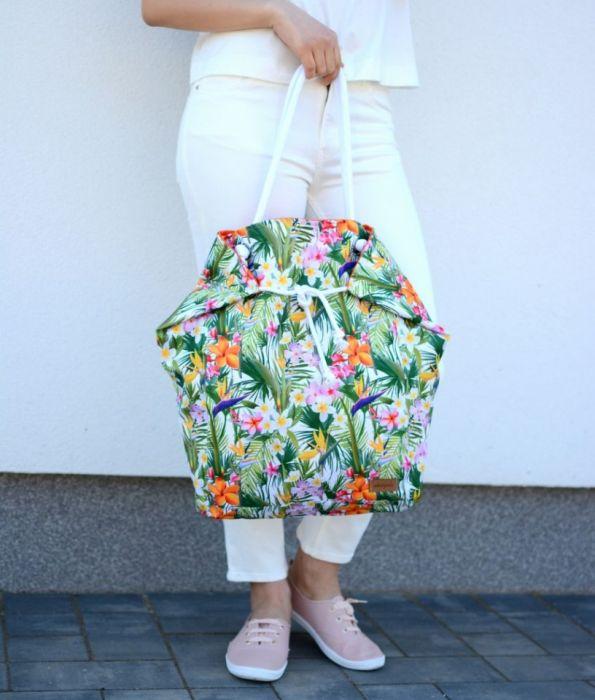 hawajska torba na plażę, na zakupy - torebka w kwiaty