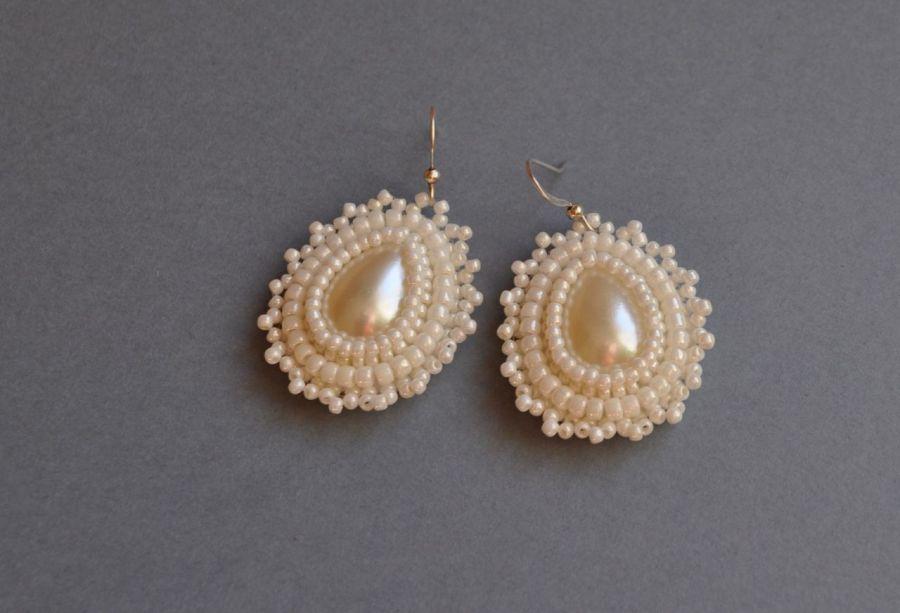Kolczyki koralikowe białe perłowe - kolczyki ślubne