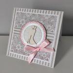 Kartka na ślub z różową kokardką -
