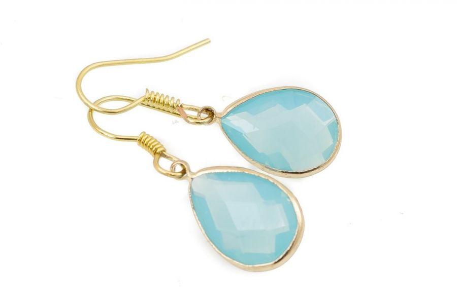 Kolczyki łezki kryształki szklane opal laguna