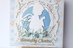 Kartka na chrzest niebieska 180808