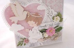 Anioł różowa kartka na chrzest