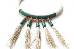 Naszyjnik z liny, len, hematyt, Kioton