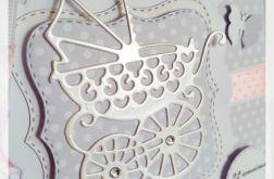 Kartka na chrzest dla dziewczynki wózek