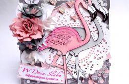 Kartka ślubna z flamingami