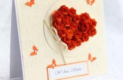 Kartka ślubna serce z róż KS105