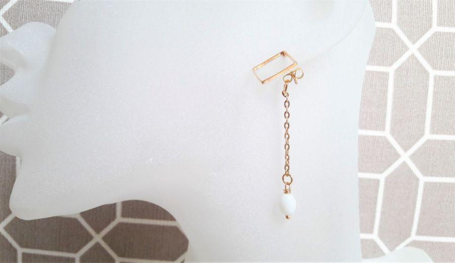 Kolczyki z serii Whitegold z łańcuszkiem -