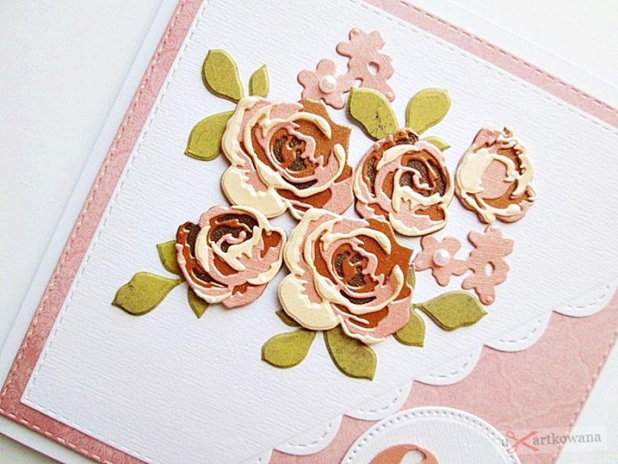Kartka NA URODZINY łososiowo-brązowe róże - Kartka urodzinowa z różyczkami