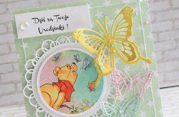 Dziecięca kartka - miś w motylach