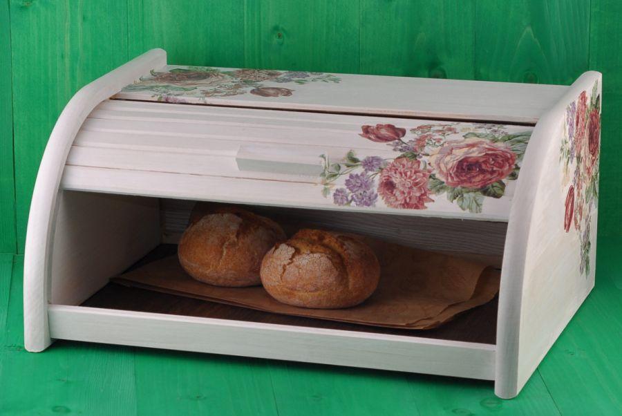Biały chlebak wzór DECOUPAGE KWIATY