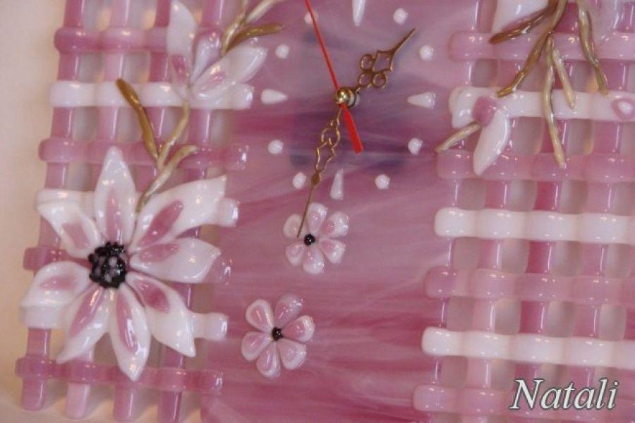 """Artystyczna kompozycja ze szkła - zegar """"Różowa kratka"""""""