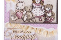 Kartka Vintage na roczek dla dziewczynki
